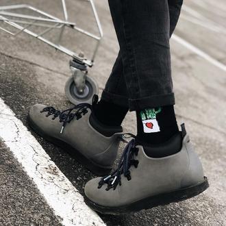 Черные мужские носки с оригинальным принтом рисунком на подарок