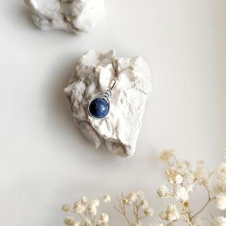 Кулон из синего содалита, Синий кулон из натурального камня