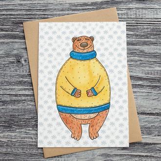 """Открытка """"мишка в желтом свитере"""""""