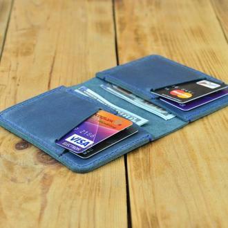 Кожаный кошелек - картхолдер - для купюр и кредитных карточек