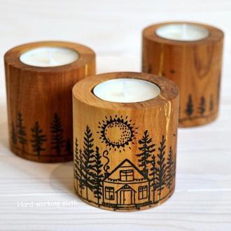 Подсвечник цилиндр «Домик в лесу»