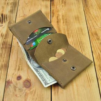 Кожаный кошелек - имеет отделения для карточек, купюр и монет