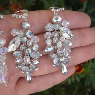 Сережки на свадьбу, свадебные серьги, украшения на свадьбу, серьги для невесты