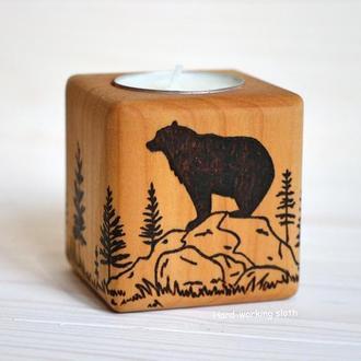 Подсвечник куб «Медведь на холме»