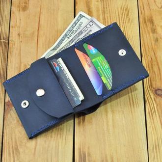 Кожаный кошелек, интересного дизайна с маленьким карманом для мелорчи