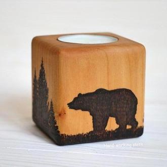 Подсвечник куб «Медведь»