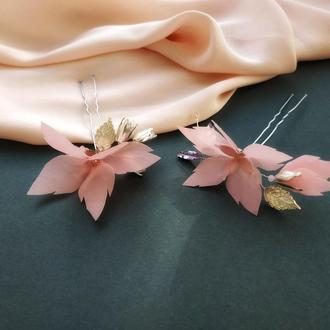 Цветочная шпилька, шпилька в причёску, свадебный аксессуар