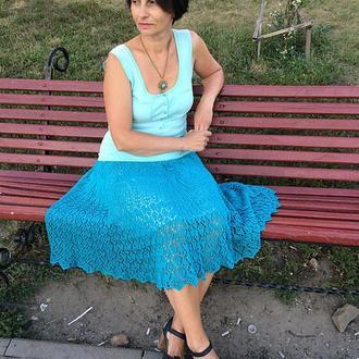 Вязаная спицами ажурная юбка из хлопка