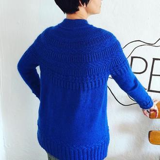 Ярко синий вязаный мохеровый свитер