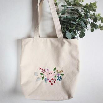 Вышитая сумка-шоппер, эко-сумка с цветочной вышивкой