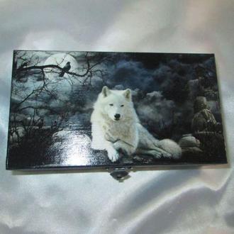 Чоловіча купюрница «Біле ікло», шкатулка вовк,подарунок чоловікові-шефові