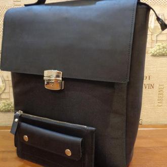 """Комплект: трансформер сумка-рюкзак-портфель  для ноутбука 15"""" и кошелек из кожи."""