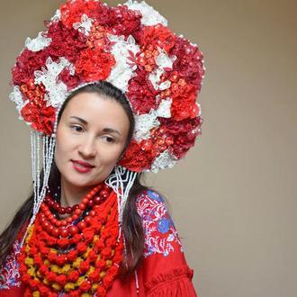 Венок кокошник мереживий красно белый пышный венок фотосессия свадьбы венок ручной работы корона