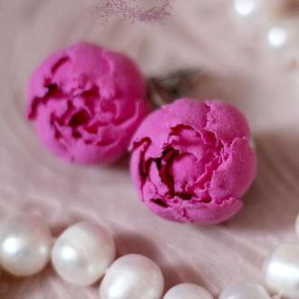 Розовые серьги цветы