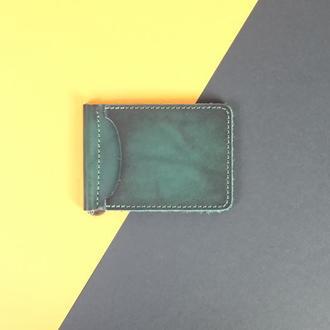 Кожаный зажим для денег Итальянская кожа цвет Зелёный