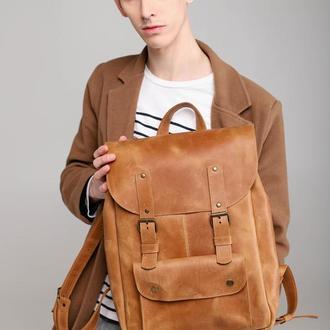 Мужской кожаный рюкзак. Коричневый кожаный рюкзак. Городской рюкзак. Кожаный городской рюкзак