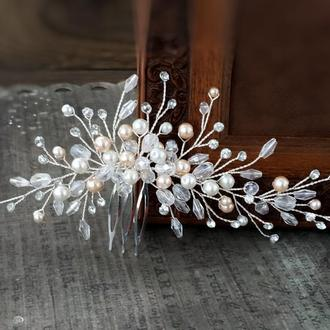 Свадебное украшение в прическу. Гребень для волос.