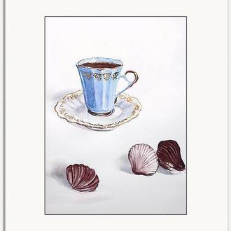 """Иллюстрация """"Кофе и бельгийский шоколад"""""""