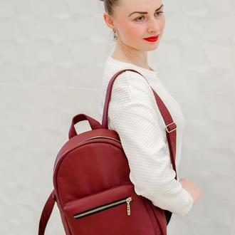 Женский бордовый рюкзак, экокожа