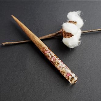 Шпилька для волос, заколка из дерева для длинных волос, аксессуар для женщин из ювелирной смолы.