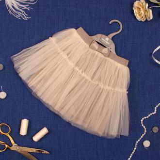 Детская фатиновая юбка с оборкой, серо-бежевая
