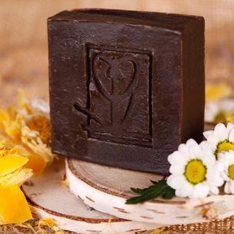 Натуральное мыло Дегтярное с пчелиным воском с отваром зверобоя,календулы,ромашки,шалфея