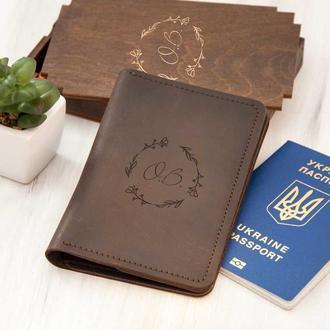Кожаный органайзер для путешествий «Веночек» с инициалами в деревянной коробке в подарок девушке