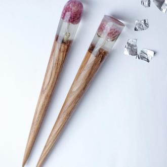 Деревянная шпилька с розовыми цветами, заколка - палочка из дерева и смолы, для волос