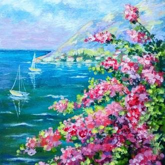 """Подарункова картина """"Колір Бугенвіль"""" полотно на картоні"""