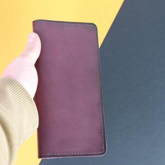 Кожаный кошелек Лонг на 8 карт Кожа Итальянский краст