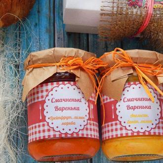Подарочный набор варенья, вкусный подарок, конфитюр, джем лимон апельсин,подарочная коробка