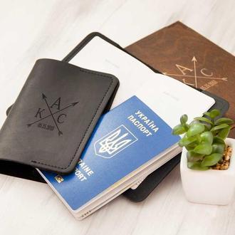 """Кожаная обложка на паспорта """"Имя"""""""