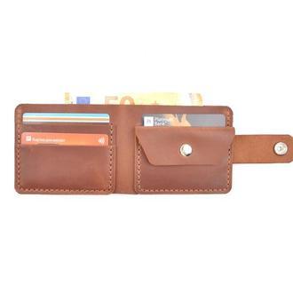 Маленький кожаный кошелёк, кошелек, кошелёк ручной работы, мужской кошелёк, гаманець