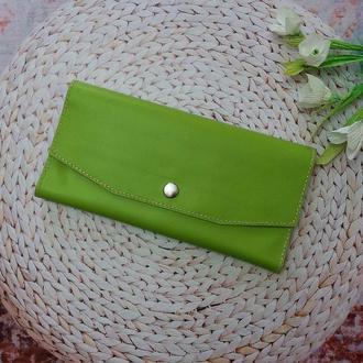 """Кожаный женский кошелек клатч """"Florina""""  Салатовый (JkkS012)"""