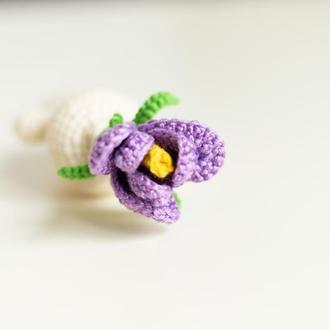 Крокус, вязаный цветок крючком, цветочный человечек ,amigurumi