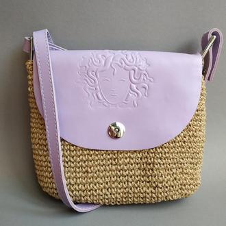 Стильная женская сумка через плечо на длинном ремешке Лавандовая