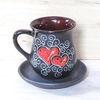 Кружка 270, декор Сердце черное с блюдцем