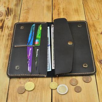 Кожаное портмоне с большым карманом для мелочей