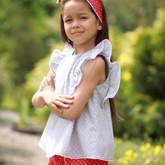 Комлект для девочки хлопковый из 3х предметов 100% хлопок: блуза, шорты, повязка для волос ТМ DORA