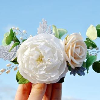 Гребешок с цветами для невесты Свадебное украшение в волосы с белым пионом кремовой розой эвкалиптом