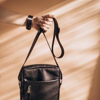 Мужская кожаная сумка, стильная сумка из натуральной кожи через плечо