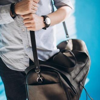 Кожаная дорожная сумка, спортивная сумка из натуральной кожи, черная сумка для тренировок