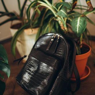 Черный кожаный рюкзак Croco, кожа крокодила, женский городской рюкзак