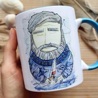 """Чашка с авторской иллюстрацией  """" Хемингуэй"""""""