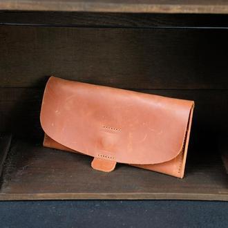 """Кожаный кошелек, Клатч """"Баттерфляй 2"""", кожа Crazy Horse, цвет Коньяк"""