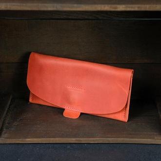 """Кожаный кошелек, Клатч """"Баттерфляй 2"""", кожа Crazy Horse, цвет Красный"""
