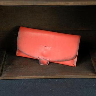 """Кожаный кошелек, Клатч """"Баттерфляй 2"""", кожа краст, цвет Красный"""