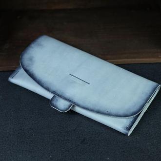 """Кожаный кошелек, Клатч """"Баттерфляй 2"""", кожа краст, цвет Серо-голубой"""