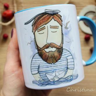 """Чашка с авторской иллюстрацией  """" Море ждет твоих кораблей"""""""
