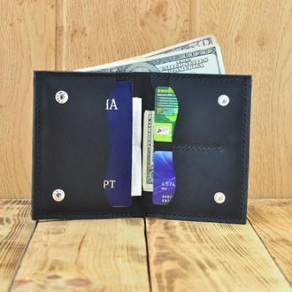 Кожаный портмоне небольшого размера с отделением для документов